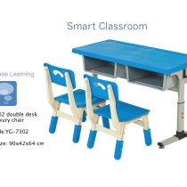 YฺฺG-7302  BBL SMART CLASSROOM- DOUBLE DESK WITH 2 ASSEMBLY CHAIRS