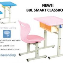 YG-7303 BBL SMART CLASSROOM FOR SECONDARY SCHOOLS-DESK WITH 1 LUXURY CHAIR