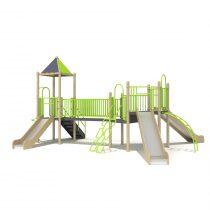 Wood Playground S1828 : สนามเด็กเล่นสไลด์เดอร์ 3 มุมสะพานข้าม HAPPY LAND