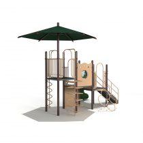 Wood Playground S1830 : สนามเด็กเล่นสไลด์เดอร์กลางร่ม HAPPY LAND