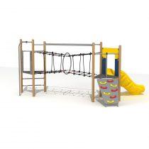 Wood Playground S1824 : สนามเด็กเล่นสไลด์เดอร์ไต่เชือกลอดหวง HAPPY LAND