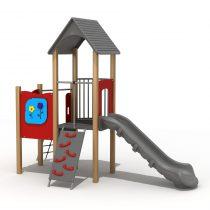 Wood Playground S1816 : สนามเด็กเล่นสไลด์เดอร์บ้านแบบ 2 HAPPY LAND