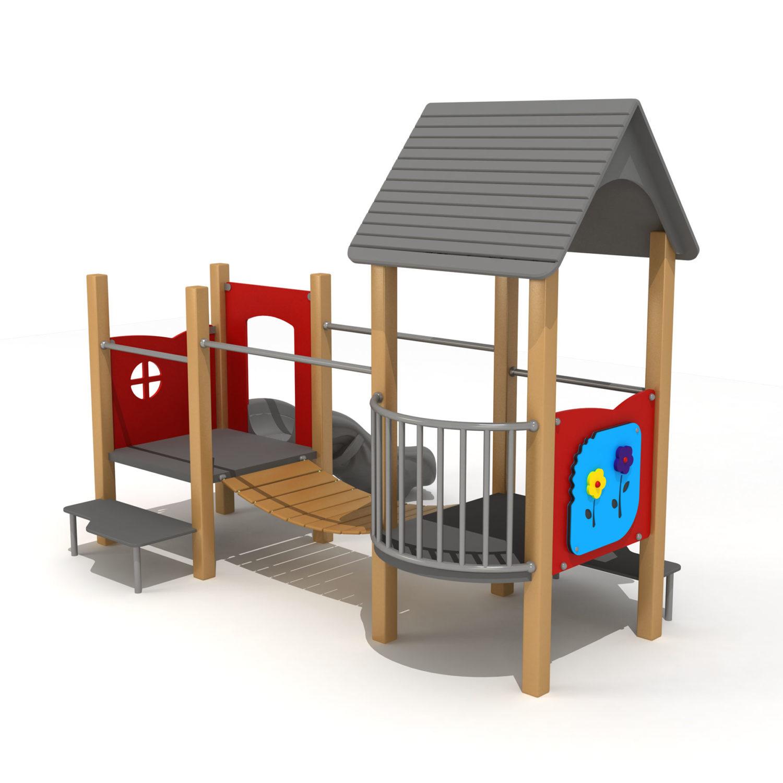 Wood Playground S1818 : สนามเด็กเล่นสไลด์เดอร์สะพานข้าม HAPPY LAND