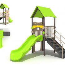 Wood Playground S1829 : สนามเด็กเล่นสไลด์เดอร์บ้านหลังน้อย HAPPY LAND