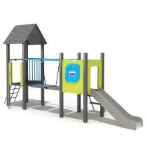 Wood Playground S1819 : สนามเด็กเล่นสไลด์เดอร์สะพานข้ามแบบที่ 2 HAPPY LAND