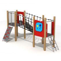 Wood Playground S1820 : สนามเด็กเล่นสไลด์เดอร์สะพานเชือก HAPPY LAND