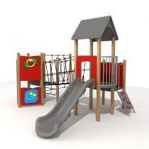 Wood Playground S1821 : สนามเด็กเล่นสไลด์เดอร์บ้านสะพานเชือก HAPPY LAND