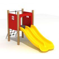 Wood Playground S1825 : สนามเด็กเล่นสไลด์เดอร์คู่ HAPPY LAND