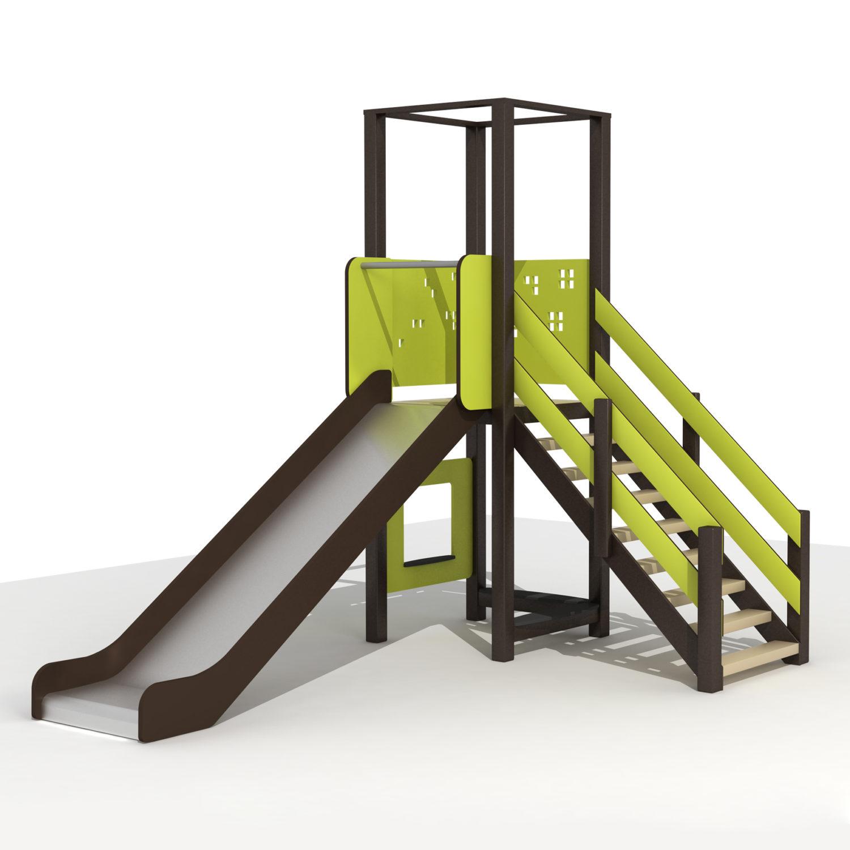 Wood Playground S1803 : สนามเด็กเล่นสไลด์เดอร์ 1 ทาง PRICE LEMON TREE