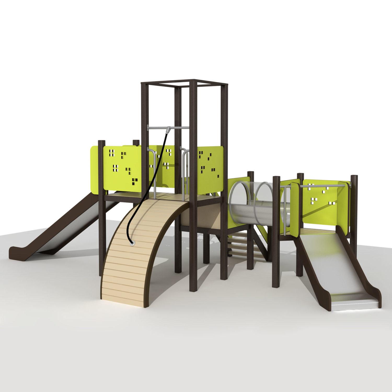 Wood Playground S1807 : สนามเด็กเล่นสไลด์เดอร์ 2 ทาง ลอดอุโมงค์ PRICE LEMON TREE